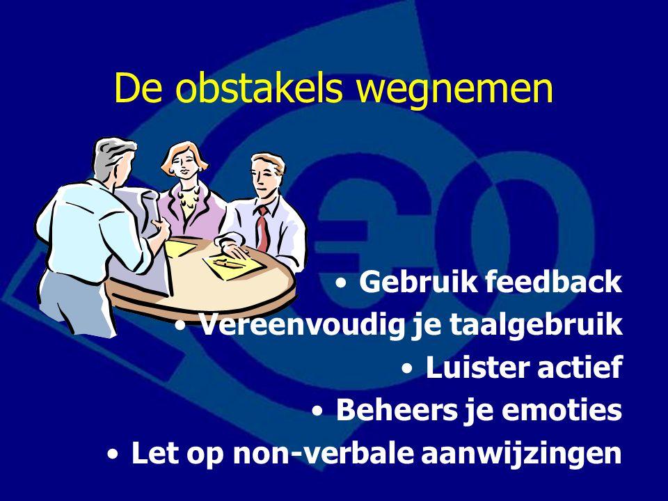 De obstakels wegnemen Gebruik feedback Vereenvoudig je taalgebruik