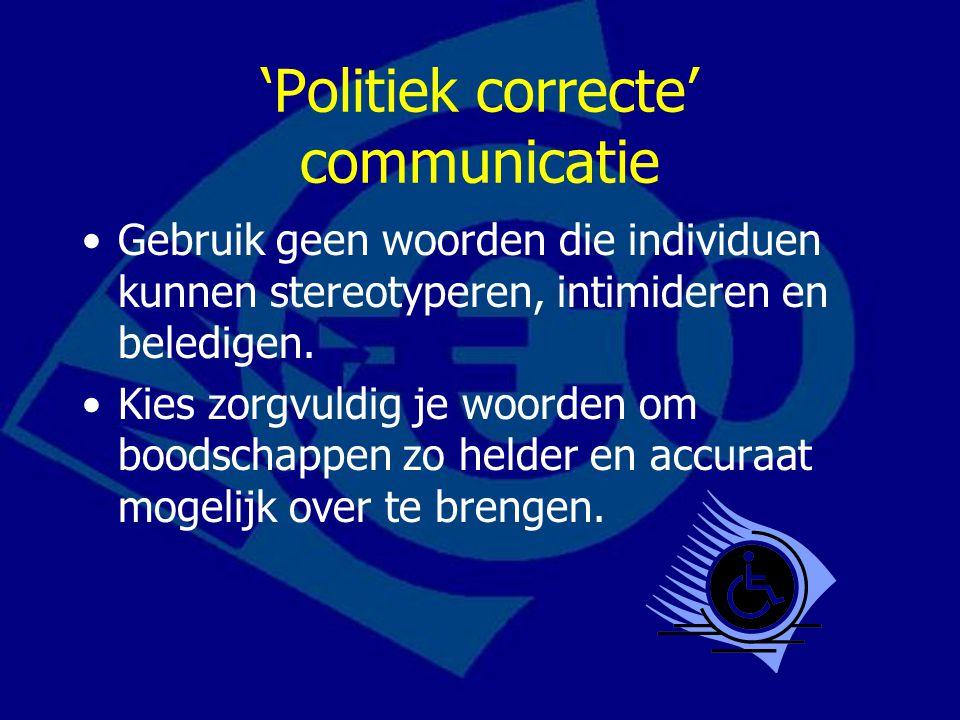 'Politiek correcte' communicatie