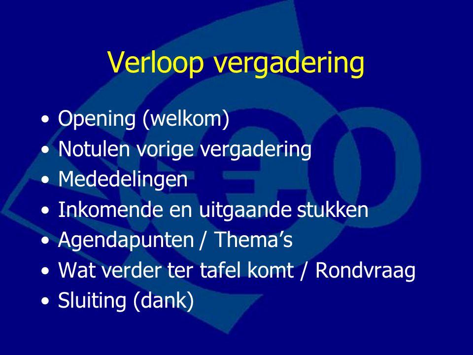 Verloop vergadering Opening (welkom) Notulen vorige vergadering
