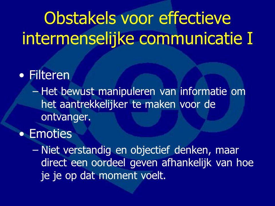 Obstakels voor effectieve intermenselijke communicatie I