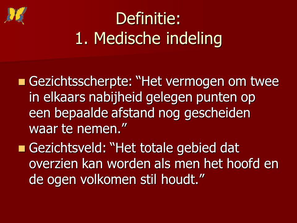Definitie: 1. Medische indeling