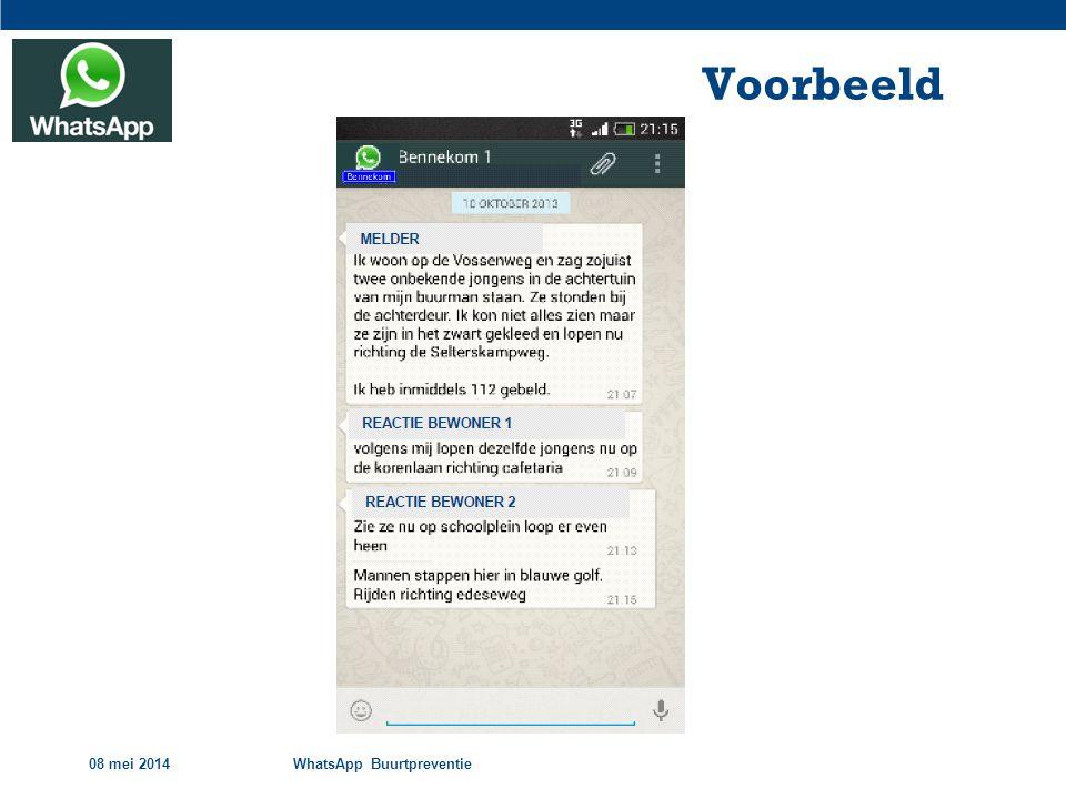 Voorbeeld 08 mei 2014 WhatsApp Buurtpreventie