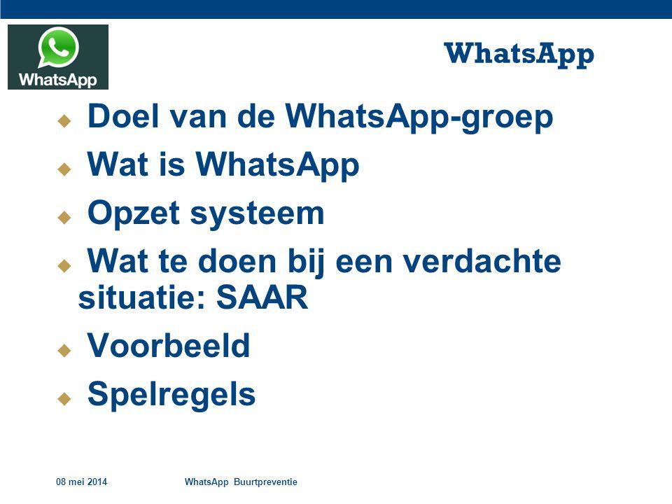 Doel van de WhatsApp-groep Wat is WhatsApp Opzet systeem