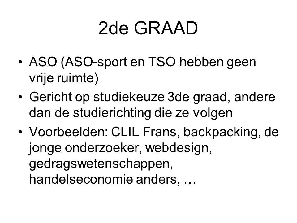 2de GRAAD ASO (ASO-sport en TSO hebben geen vrije ruimte)