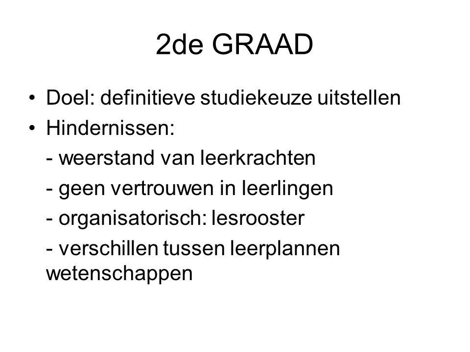 2de GRAAD Doel: definitieve studiekeuze uitstellen Hindernissen: