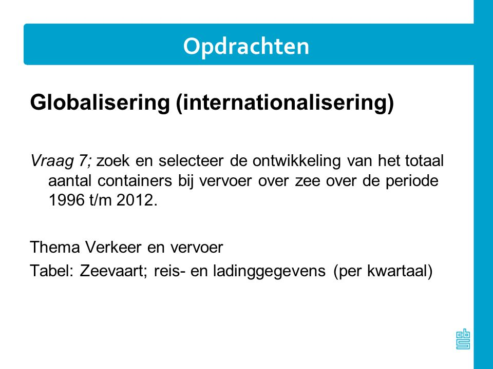Opdrachten Globalisering (internationalisering)