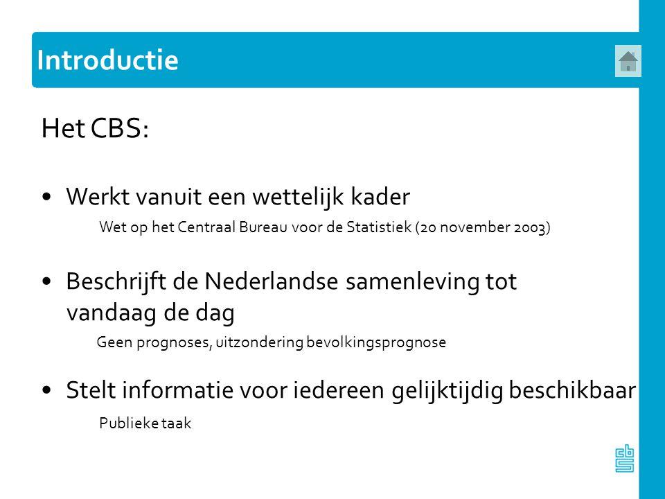 Introductie Het CBS: Werkt vanuit een wettelijk kader