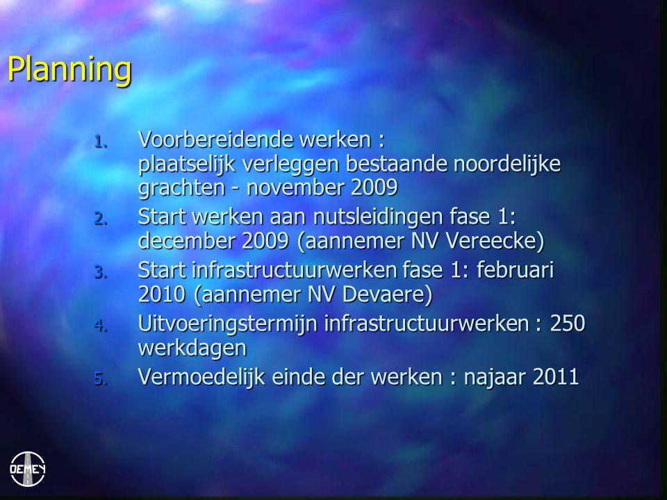 Planning Voorbereidende werken : plaatselijk verleggen bestaande noordelijke grachten - november 2009.