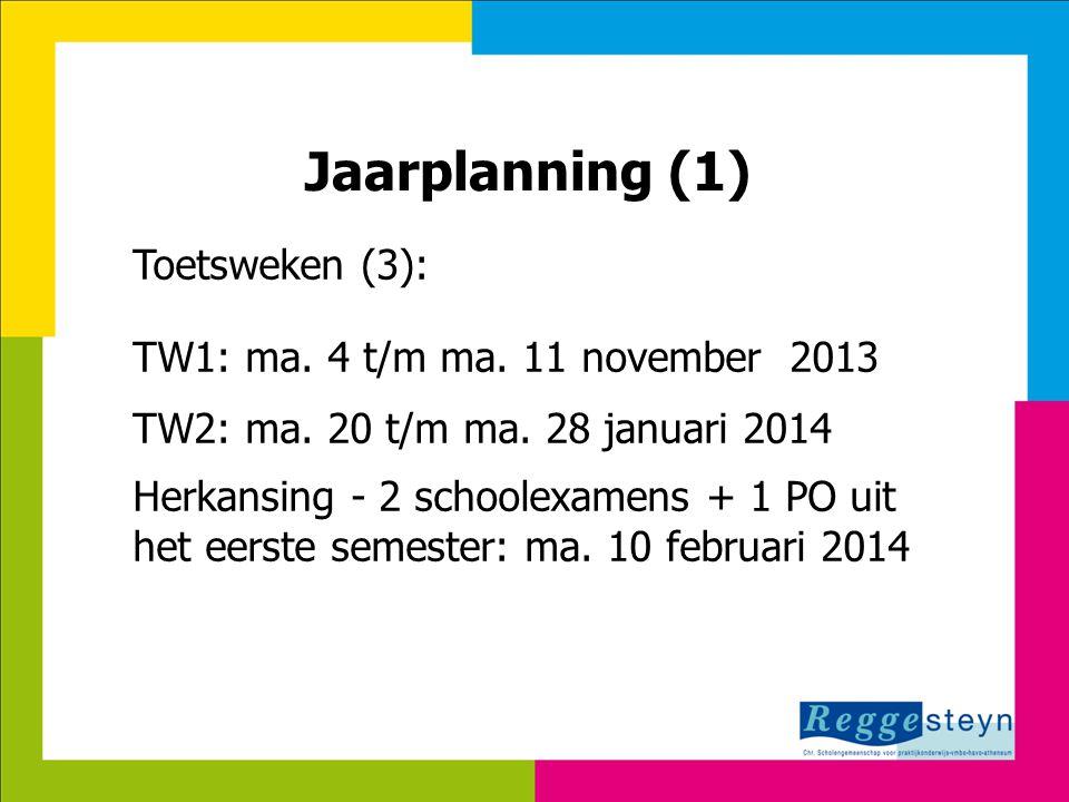 Jaarplanning (1) Toetsweken (3): TW1: ma. 4 t/m ma. 11 november 2013