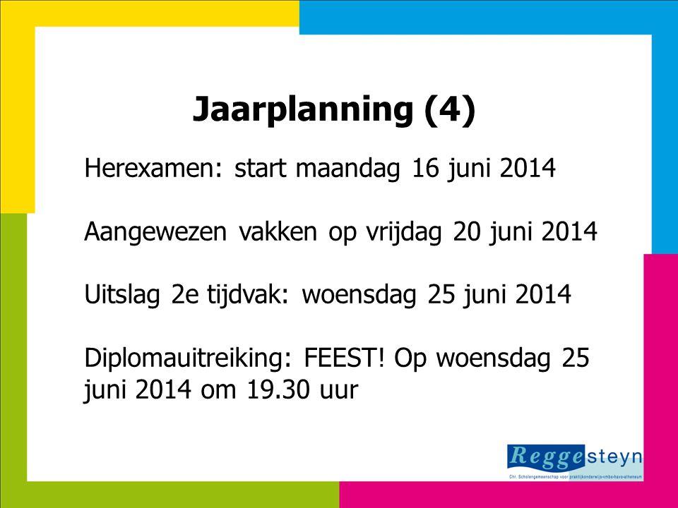 Jaarplanning (4) Herexamen: start maandag 16 juni 2014