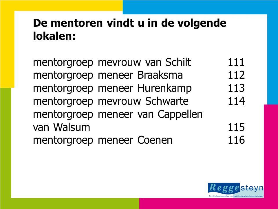 De mentoren vindt u in de volgende lokalen: