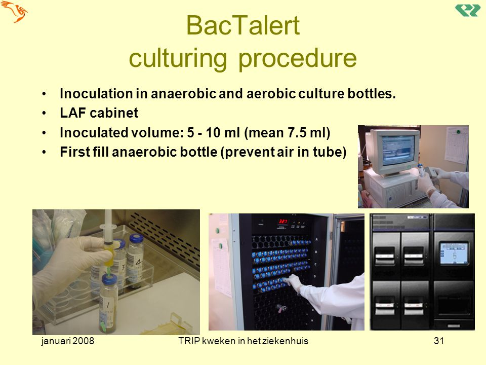 BacTalert culturing procedure