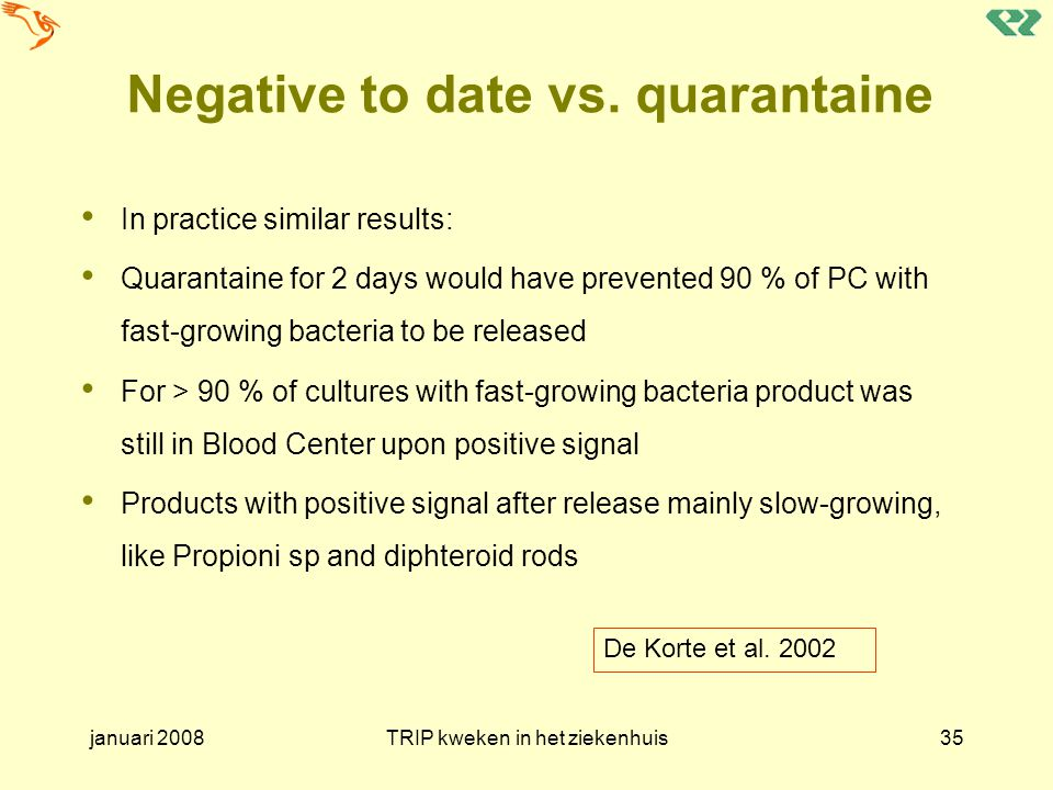 Negative to date vs. quarantaine