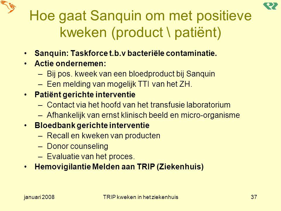 Hoe gaat Sanquin om met positieve kweken (product \ patiënt)