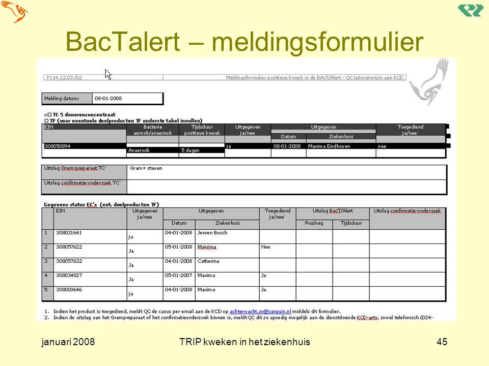 BacTalert – meldingsformulier