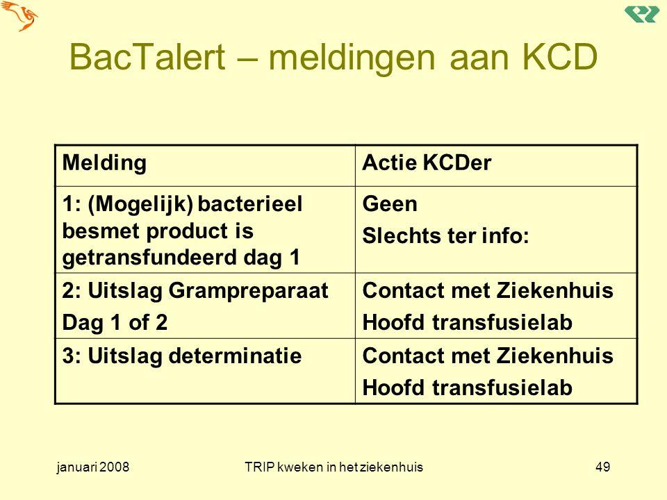 BacTalert – meldingen aan KCD