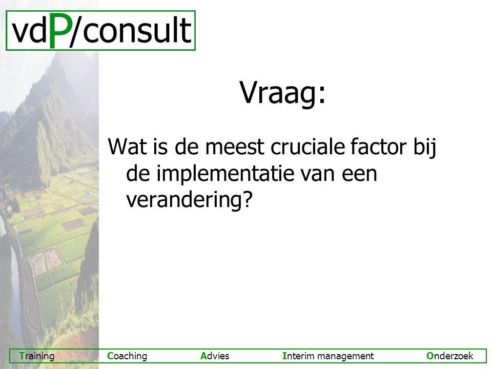 Vraag: Wat is de meest cruciale factor bij de implementatie van een verandering