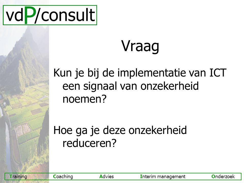 Vraag Kun je bij de implementatie van ICT een signaal van onzekerheid noemen.
