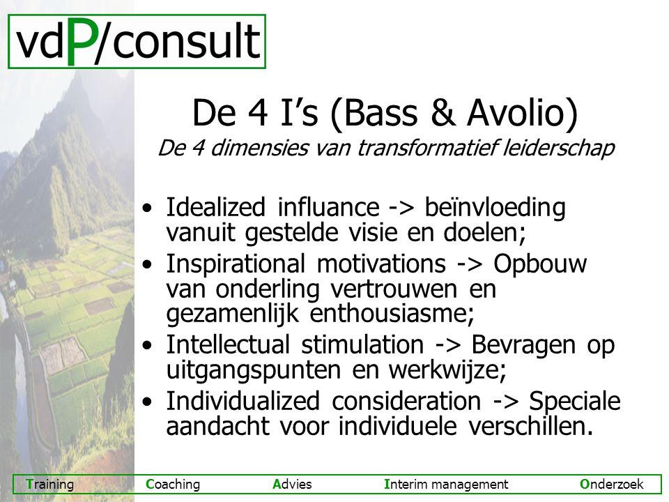 De 4 I's (Bass & Avolio) De 4 dimensies van transformatief leiderschap