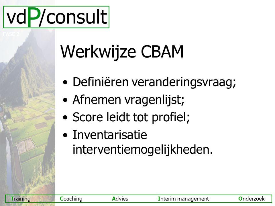Werkwijze CBAM Definiëren veranderingsvraag; Afnemen vragenlijst;