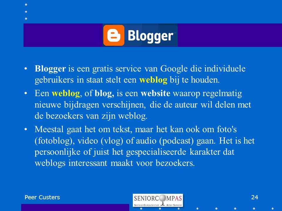 Blogger is een gratis service van Google die individuele gebruikers in staat stelt een weblog bij te houden.