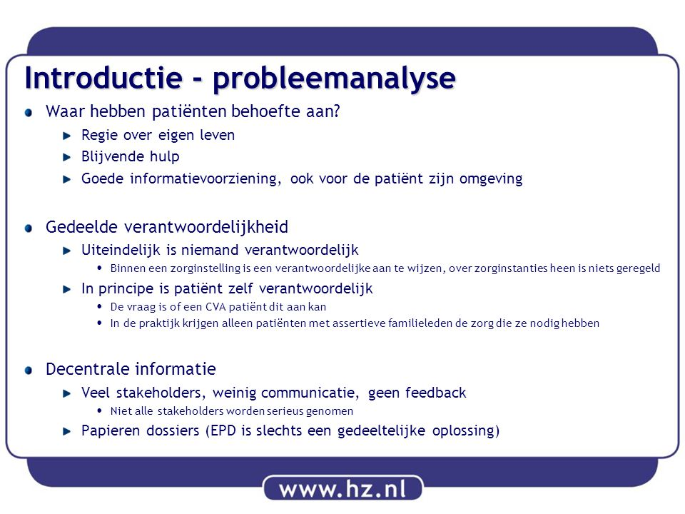 Introductie - probleemanalyse