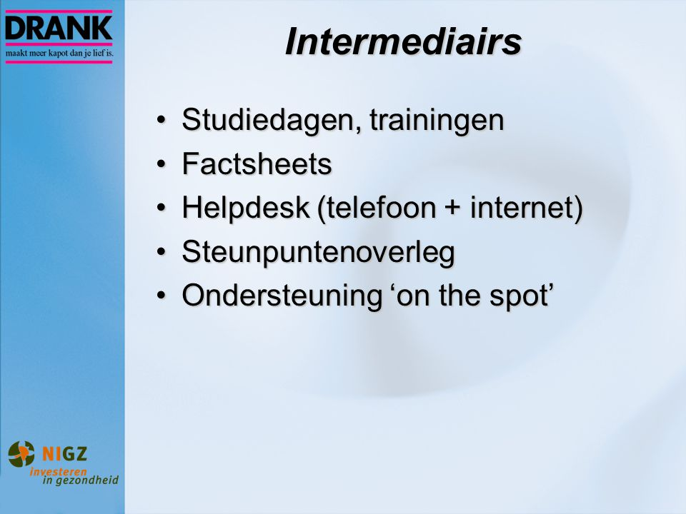 Intermediairs Studiedagen, trainingen Factsheets