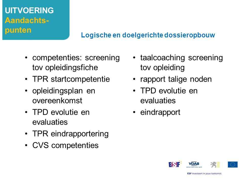 competenties: screening tov opleidingsfiche TPR startcompetentie