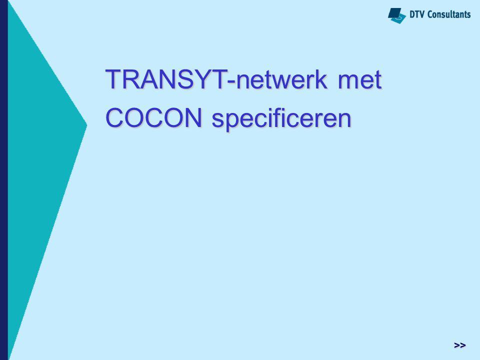 TRANSYT-netwerk met COCON specificeren >>
