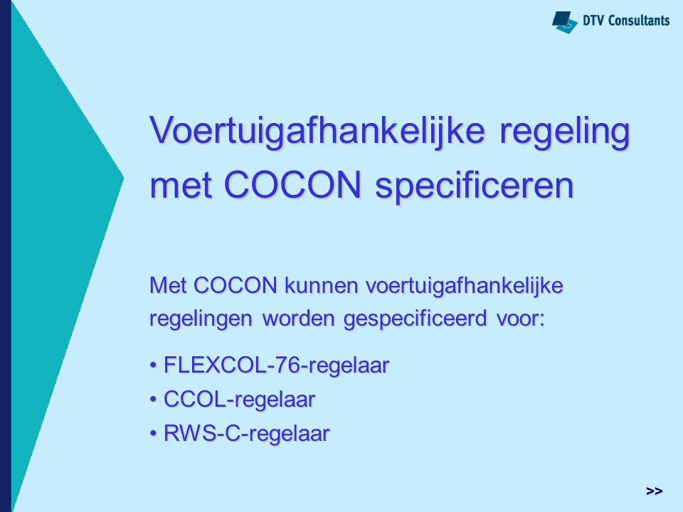 Voertuigafhankelijke regeling met COCON specificeren