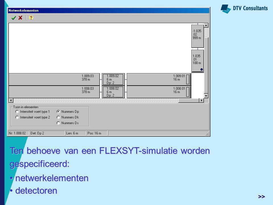 Ten behoeve van een FLEXSYT-simulatie worden gespecificeerd: