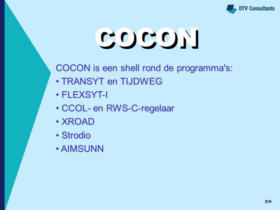 COCON COCON COCON is een shell rond de programma s: TRANSYT en TIJDWEG