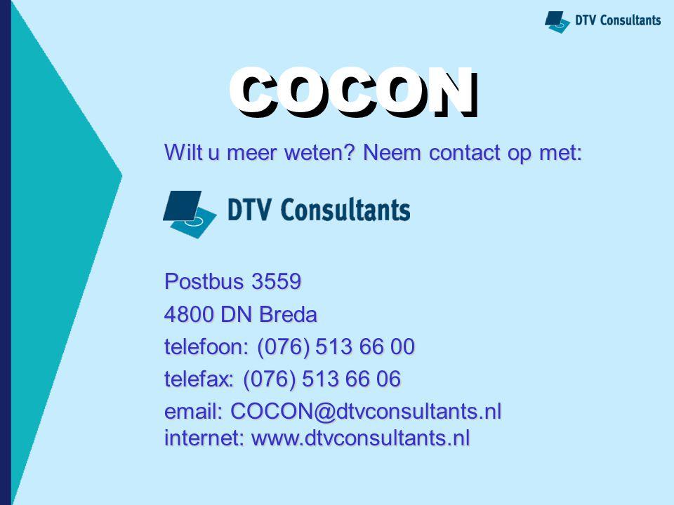COCON COCON Wilt u meer weten Neem contact op met: Postbus 3559