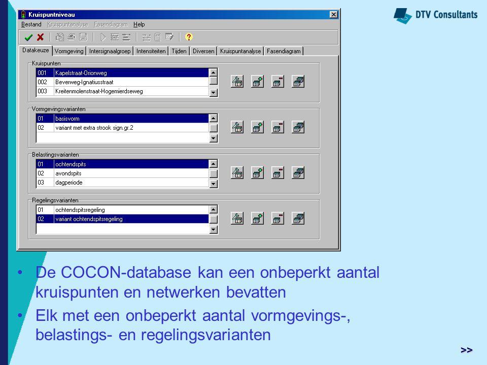 De COCON-database kan een onbeperkt aantal kruispunten en netwerken bevatten