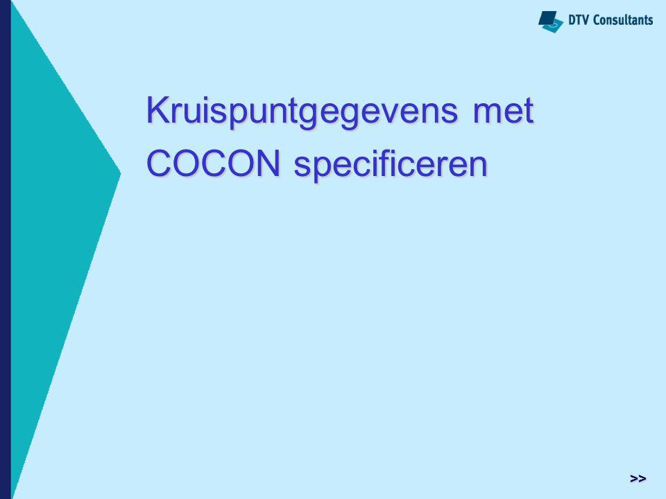 Kruispuntgegevens met COCON specificeren
