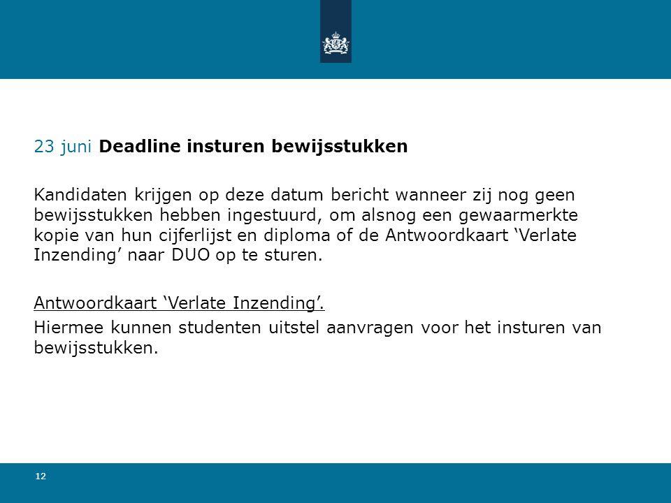 23 juni Deadline insturen bewijsstukken