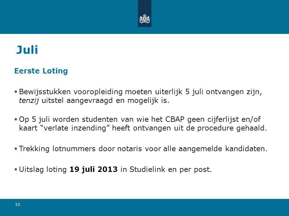 Juli Eerste Loting. Bewijsstukken vooropleiding moeten uiterlijk 5 juli ontvangen zijn, tenzij uitstel aangevraagd en mogelijk is.
