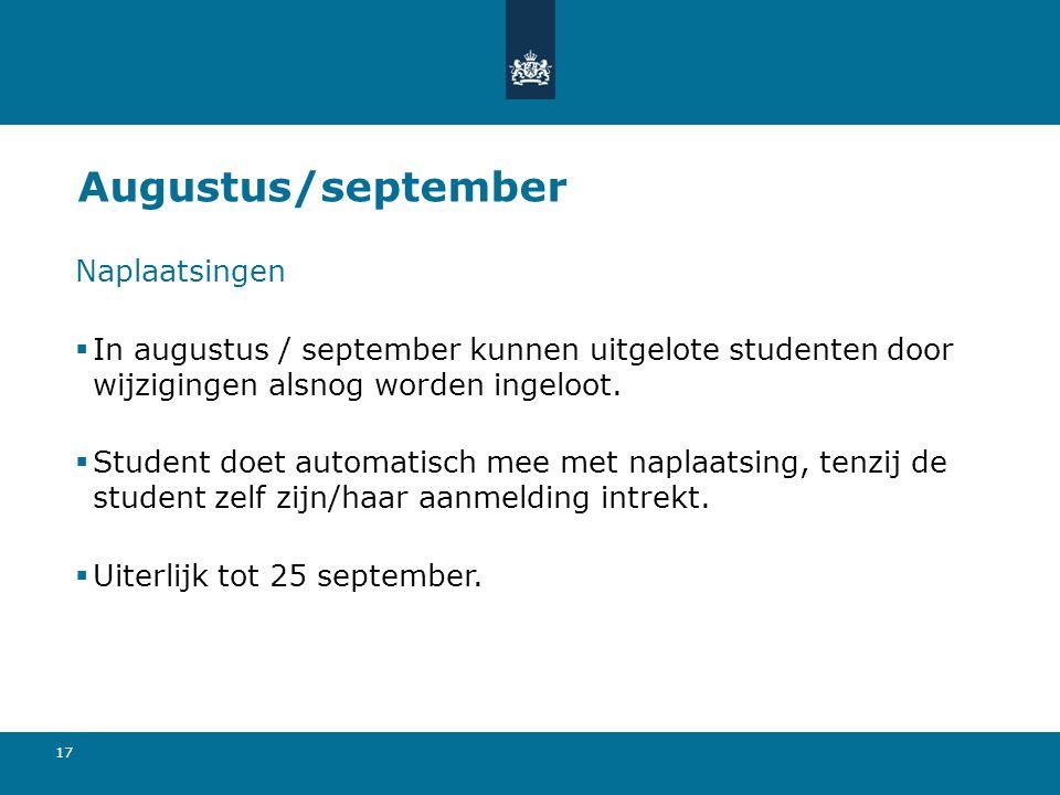 Augustus/september Naplaatsingen