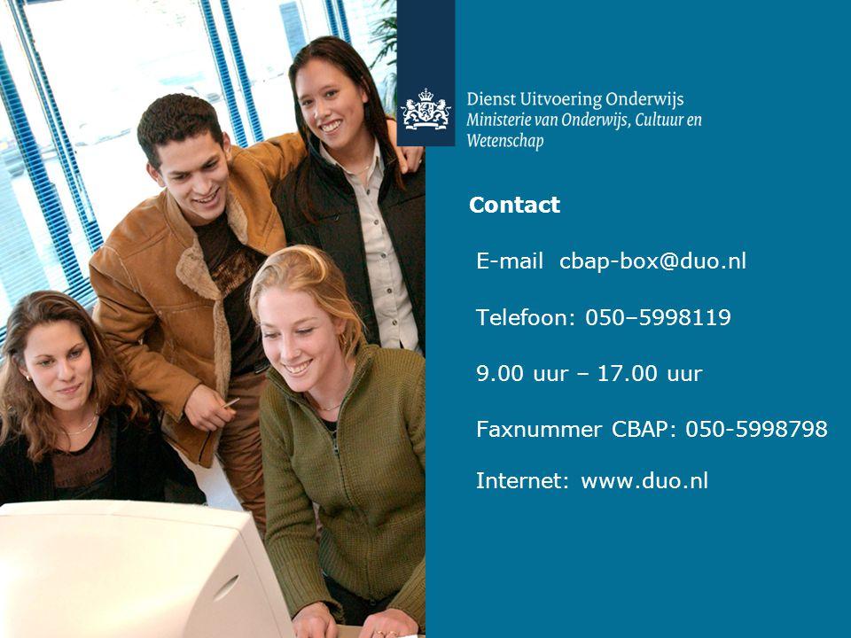 Contact E-mail cbap-box@duo.nl. Telefoon: 050–5998119.