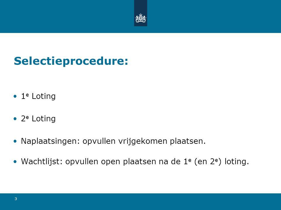 Selectieprocedure: 1e Loting 2e Loting
