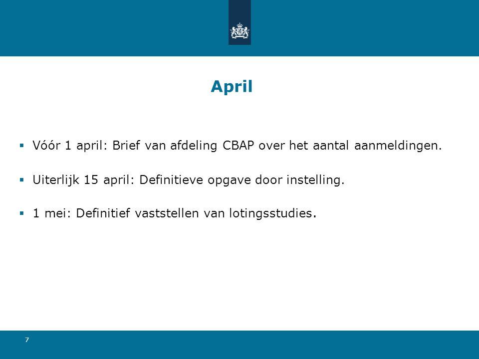 April Vóór 1 april: Brief van afdeling CBAP over het aantal aanmeldingen. Uiterlijk 15 april: Definitieve opgave door instelling.