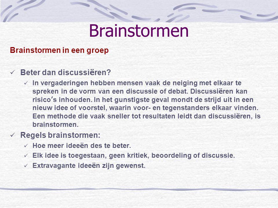 Brainstormen Brainstormen in een groep Beter dan discussiëren