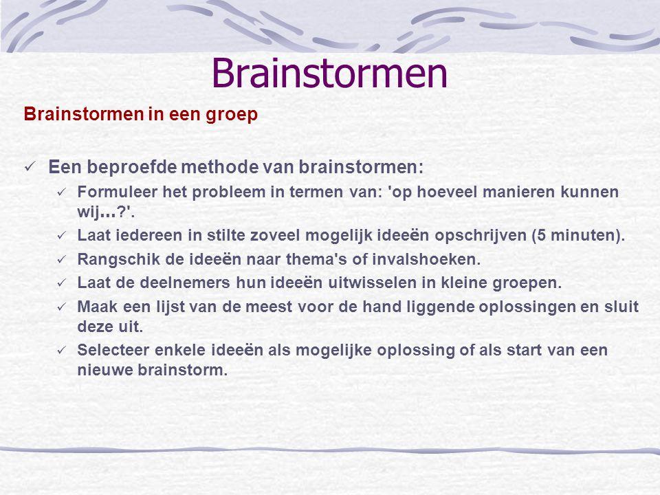 Brainstormen Brainstormen in een groep