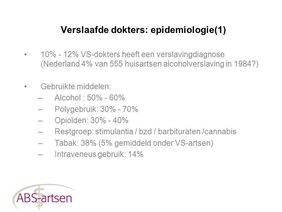 Verslaafde dokters: epidemiologie(1)
