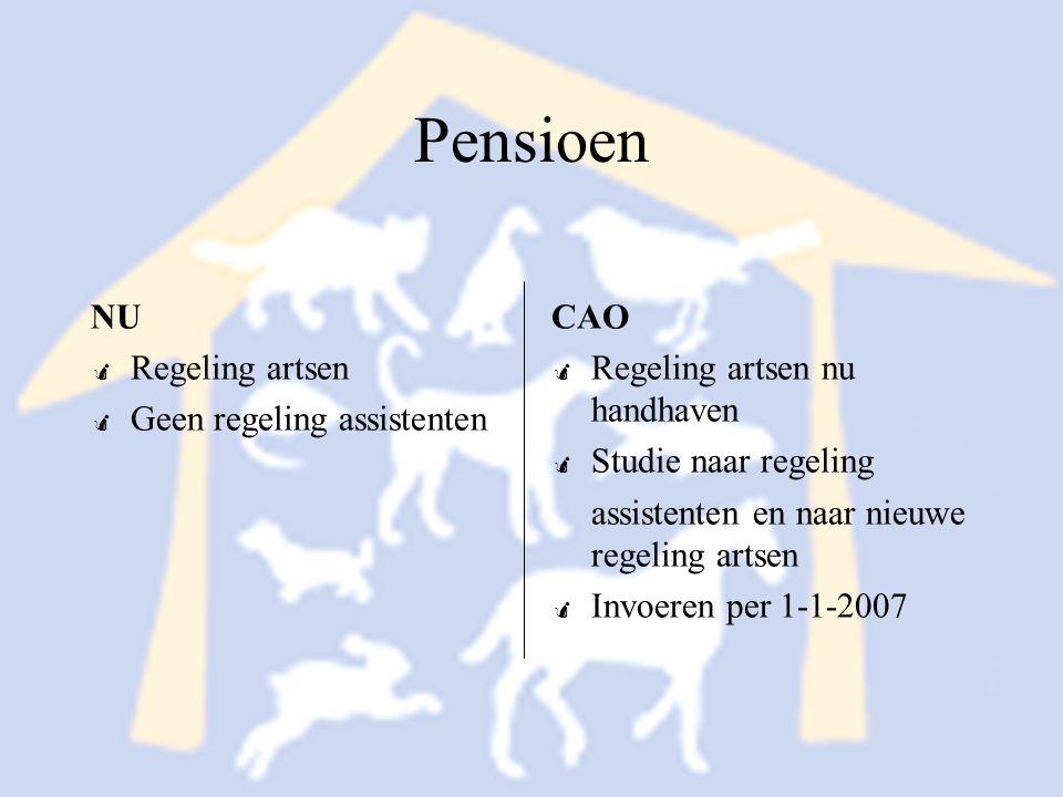 Pensioen NU Regeling artsen Geen regeling assistenten CAO