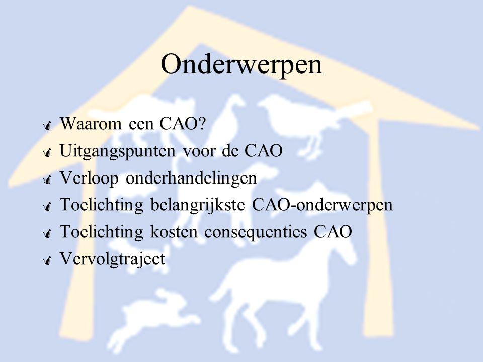 Onderwerpen Waarom een CAO Uitgangspunten voor de CAO