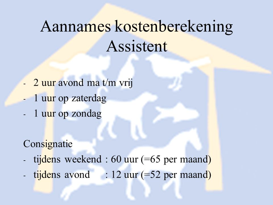 Aannames kostenberekening Assistent