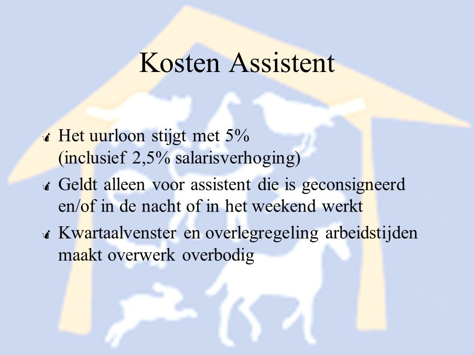 Kosten Assistent Het uurloon stijgt met 5% (inclusief 2,5% salarisverhoging)