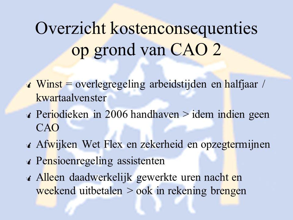 Overzicht kostenconsequenties op grond van CAO 2