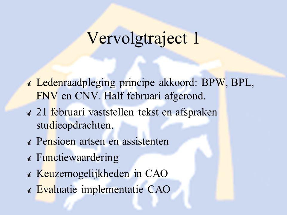 Vervolgtraject 1 Ledenraadpleging principe akkoord: BPW, BPL, FNV en CNV. Half februari afgerond.